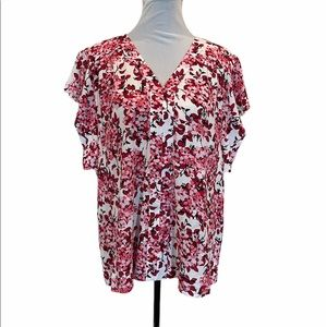 NWT Milano floral pullover cap sleeve blouse large